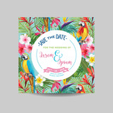 Save the Date Card. Tropical Flowers and Parrot Wedding Invitation in Vector