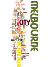 Melbourne Australia Text  Word Cloud Concept Sticker