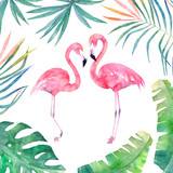 Watercolor card with leaves frame and two flamingos. Hand drawn illustration - 165290780