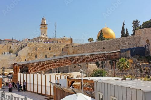 Foto op Plexiglas Cyprus Mughrabi Bridge from the Wailing Wall to the Temple Mount in Jerusalem