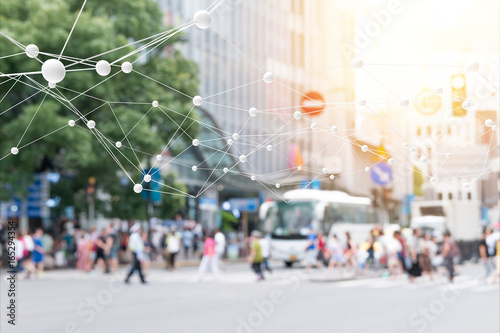 Big data , iot , artificial intelligence (ai) technology every where , smart city technology concept. Neural networks connect atoms and blur city people cross street background. 3d Rendering. - 165294354