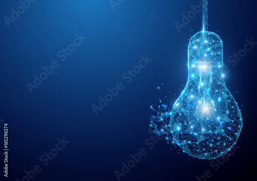 Low polygon light bulb wireframe mesh hanging on blue background