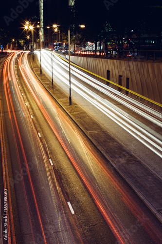 Long exposure light trail on busy London road