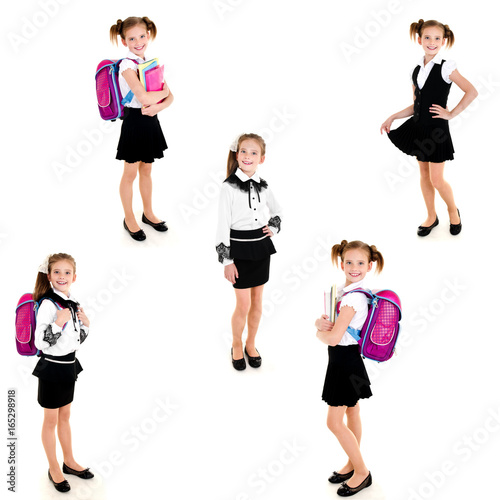 Poster Collection of photos smiling happy school girl