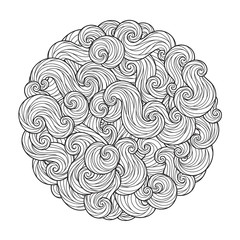 Abstract Round Sea Wave Mandala with curls