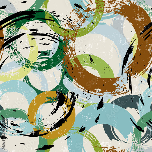 Fotobehang Abstract met Penseelstreken seamless background pattern, with circles, paint strokes and splashes