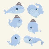 Set of cartoon cute and funny whales.