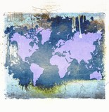 Purple world map on grunge dripping abstract background. Elements of this image furnished by NASA.