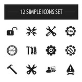 Set Of 12 Editable Tool Icons. Includes Symbols Such As Spanner, Gear, Build Equipment And More. Can Be Used For Web, Mobile, UI And Infographic Design.