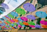 The umbrellas of Pietrasanta town in Italy. Photo July 2017.