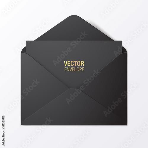 Black vector envelope template. Black opened envelope lying on a red background. Realistic mockup.