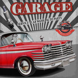 Car wash retro poster