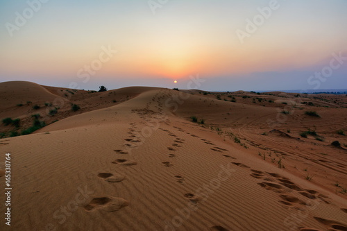 Dubai deserts and sand dunes at sunset, UAE.