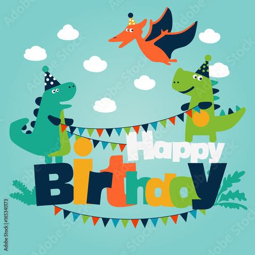 Fototapeta Happy birthday - lovely vector card with funny dinosaurs