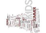 FITNESS ACTIVITIES FOR KIDS Text Background Word Cloud Concept