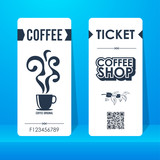 Coffee shop ticket. Element template vintage vertical for graphics design . Vector illustration.