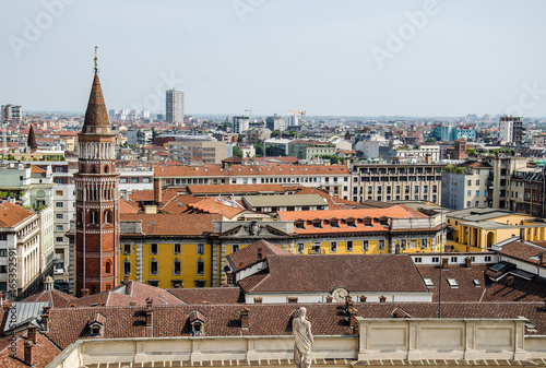 View of tile roofs of Milan