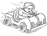 Cartoon Illustration of Boy Driving Electric or Pedal Car