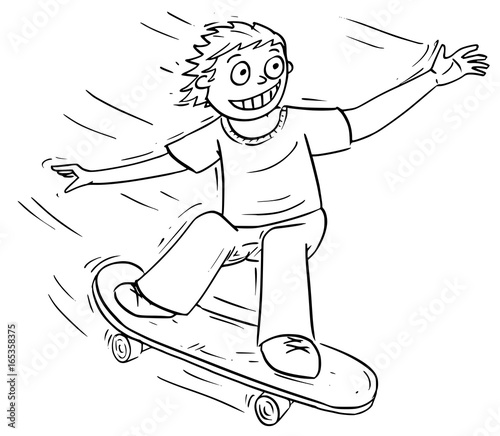 Foto op Aluminium Skateboard Cartoon Illustration of Boy Riding a Skateboard