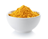 Turmeric powder in a bowl on white background - 165361529