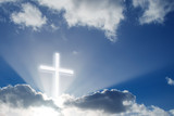 Christian cross over beautiful sunny sky - 165366325