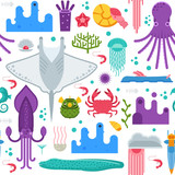 Sea life pattern with different marine animals. Underwater creatures vector seamless background with ocean aquatic inhabitants and exotic fishes in flat design. Manta ray, squid, crab, octopus, shell.