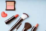 Set of Makeup cosmetics products with bag on top view, vintage style - 165376964