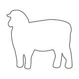 Sheep silhouette black color path icon . - 165384555