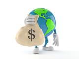 World globe character holding money bag