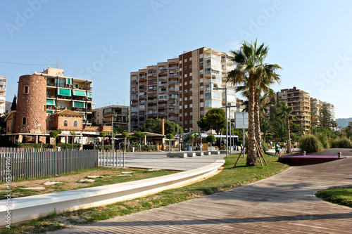 Buildings at Torreon Beach in Benicassim, a beach resort in the Costa del Azahar coast, province of Castello, Spain