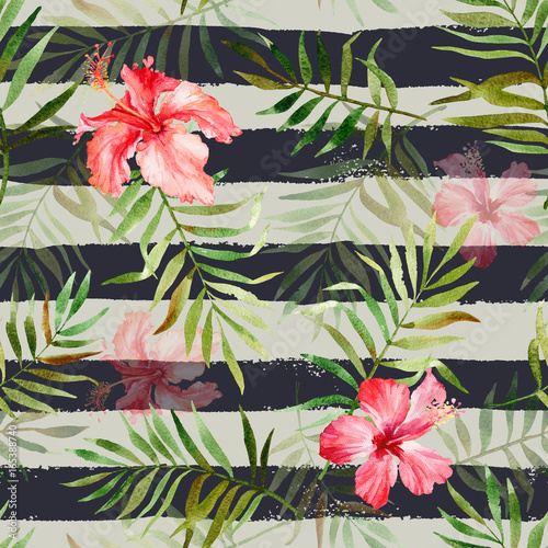 Cotton fabric Seamless pattern with watercolor tropical flowers and leaves on striped background. Illustration can be used for gift wrapping, background of web pages, as a print for any printing products.