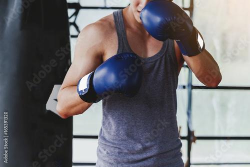 Staande foto Sportman with boxing gloves