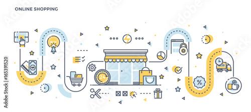 Flat Line Design Header - Online Shopping