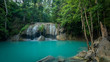 Beautiful and Breathtaking green waterfall, Erawan's waterfall, Located Kanchanaburi Province, Thailand - 165397545