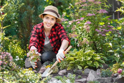 Fridge magnet woman gardener planting flowers