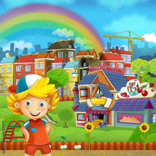Cartoon scene of playground and kid in front of a colorful building candy shop - illustration for children - 165399977