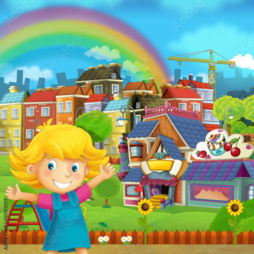 Cartoon scene of playground and kid in front of a colorful building candy shop - illustration for children - 165400135