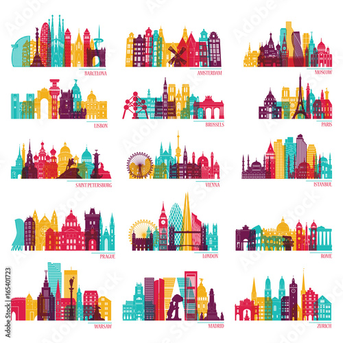 Skyline detailed silhouette set (Barcelona, Madrid, Rome, London, Vienna, Prague, Brussels, Istanbul, Lisbon, Moscow, Warsaw, Amsterdam, Zurich). Travel and tourism background. Vector illustration - 165401723