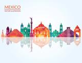 Fototapety Mexico famous landmarks skyline. Vector illustration