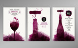Design templates background wine stains. Suitable for promotions, brochures, tasting events, wine presentation or wine list. Vector - 165405553