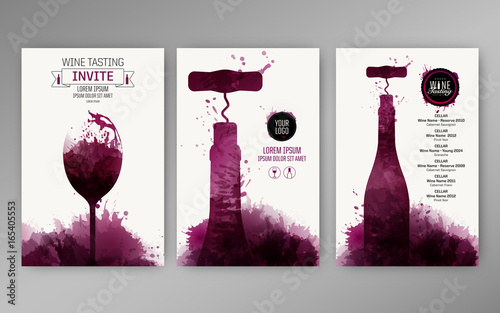 Fototapeta Design templates background wine stains. Suitable for promotions, brochures, tasting events, wine presentation or wine list. Vector