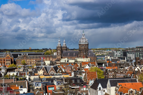 Poster Amsterdam cityscape - Netherlands