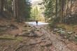 hiker standing and contemplates a beautiful sunlight glade -wanderlust travel concept with sporty people at excursion in wild nature - outdoor activity italian Alps Italy