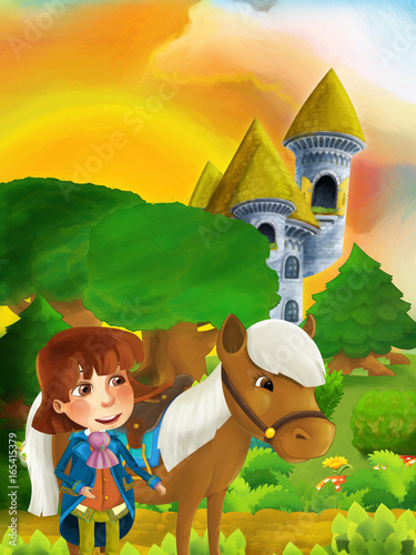 cartoon forest scene with prince with his horse standing on the path near the castle tower - 165415379