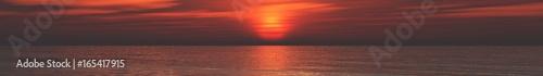 Panorama of sea sunset, sunrise. Baner.