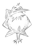 Cartoon image of bird. An artistic freehand picture.