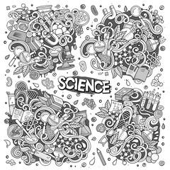 Vector cartoon set of Science theme doodles design elements