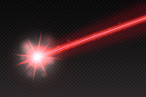 Abstract red laser beam. Magic neon light lines isolated on checkered background. Vector illustration - 165424390