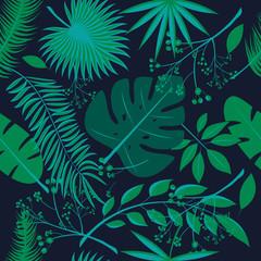 Exotic leaves, rainforest. Seamless realistic tropic leaf pattern. Palm leaf, banana leaf, hibiscus, plumeria flowers. Jungle trees.Botanical floral illustration. Set of trendy illustrations.