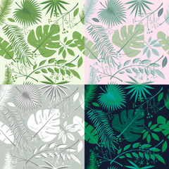 Tropical seamless patterns collection. Set of hawaiian plants, palm leaves. Good for wallpaper, invitation cards, textile print. illustration. Botanical floral, trendy illustrations.
